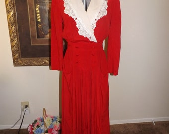 Vintage Red Dress-White-Ruffle-Lace-Plunging Neck Line-Maxi Dress-Karen Stevens- Halloween dress