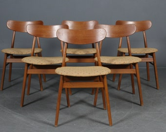 Wonderful Danish Vintage Teak Set of 6 Dining Chairs