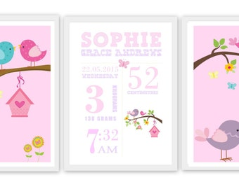 Birds or Owls Personalised Nursery Decor Wall Hanging - Set of 3 Printable File