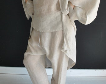 Handmade linen Kimono,  HIMALYA, soft robe pre-washed in 2 colors available