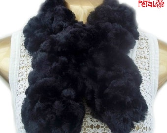 Scarf, Black Handmade Scarf, Twisted Tuck-In Design, Faux Fur Scarf, Stole, Wrap, Ruched Scarf.