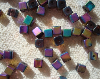 Promotion! 80 Rainbow Coated Metallic Glass Cube Beads. 4mm  Aurora Borealis Electroplated Glass Beads. Opaque. ~USPS Ship Rates