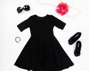 Girls Black Twirly Dress, Black Dress, Black Dress for Girls, Girls Dress, Girl Dresses Sizes 2/3, 4/5, 6/6X, 7/8, 10/12, 14 Ready to Ship