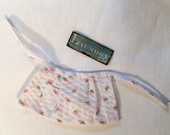 Miniature Dollhouse Vintage Inspired Apron Skirt - White with Pink Flowers