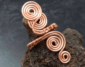 Copper ring ,wire wrapped copper wire ring-adjustable, wire wrapped copper ring .