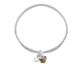 Silver Bead Bracelet - Double Strand - Mixed