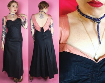 1930s Dress / 30s Evening Gown / 1930s Moire Pink & Black Dress / 1940s Dress / 40s Gown