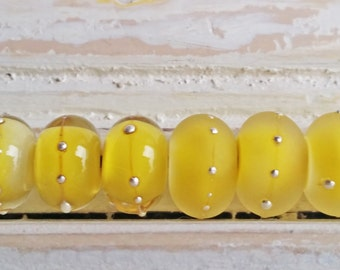 MADE TO ORDER    -   Silver Studded Lemon Yellow Round By Sabrina Koebel of SabrinaDesign Handmade Lampwork Beads