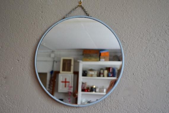 miroir rond de barbier vintage r tro ann es 60 patin indus. Black Bedroom Furniture Sets. Home Design Ideas