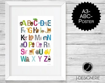 ABC poster animals A3 I gift for the nursery
