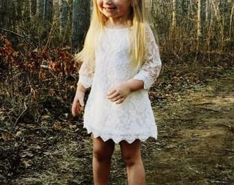 Girls white dress. White lace flower girl dress. Country flower girl dress. Toddler dress