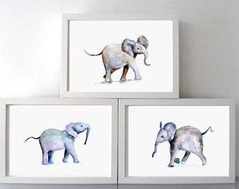 elephant art baby elephants Watercolor painting - Giclee Print - playful elephant baby - Nursery Animal Painting - illustration baby animal