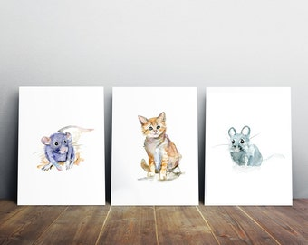 Kitten Art - Cat and mouse watercolor painting - baby rat - art print -  nursery animal paintings -  illustration baby animals - mice rat
