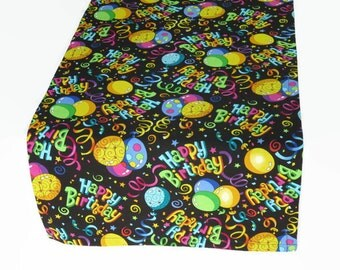 Birthday Table Runner, Birthday Party Table Runner, Happy Birthday Runner, Reusable Birthday Decor, Table Runner & Matching Napkins