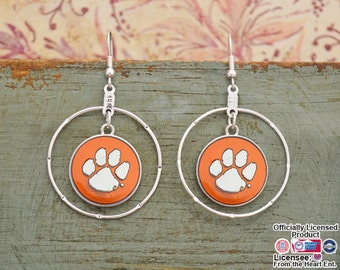 Clemson Tigers Iridescent Round Earrings