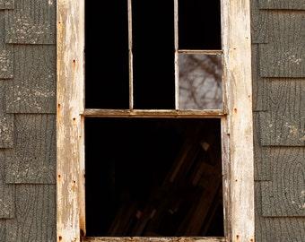 Green Broken Window Pane Farm Original Photography