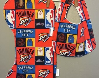 OKC Thunder Baby Bib, Burp Cloth Set