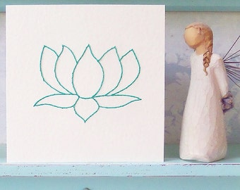 Lotus Flower Card. Hand Stitched Card.