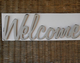 WELCOME Wooden Antiqued Gray Sign