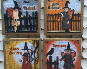 COASTERS!! Whimsical Halloween coasters with gold trim