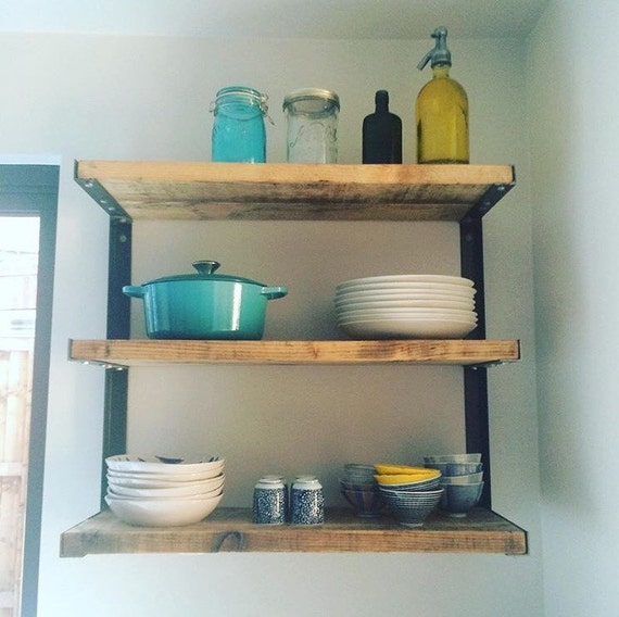 Reclaimed Industrial Chic Steel 3 Shelf Kitchen Storage