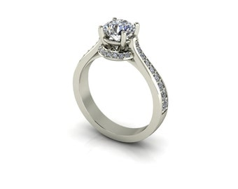 Forever One Round Moissanite Vintage Cathedral Reverse Tapered Bridge Accent Diamond Engagement Ring