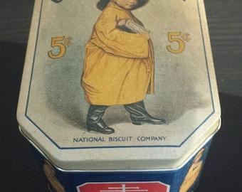 Uneeda biscuit advertising tin from Bristol Ware. Nabisco tin.