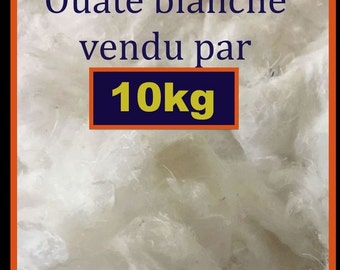 10 kg white upholstery wadding, cotton cellulose and cotton, 1st choice