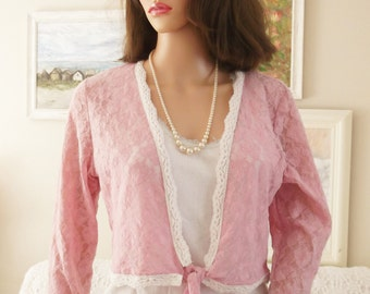 Vintage Carol Rose Pale pink lace cardigan Pink rose lace cardigan Lace lingerie Pink lace boudoir wrap Pale pink lace cover up Bridesmaid