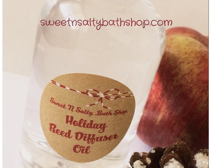 Holiday Reed Diffuser Oil Refill 8 oz. with Reeds-Choose Your Scent/Wintery Candy Apple/Cranberry/Sleigh Ride/Hollyberry and More!