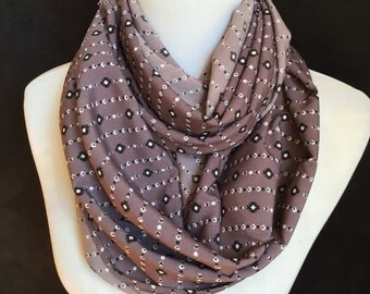 Aztec Tribal Infinity scarf/ Aztec circle scarf in taupe. Scarf in a loop Aztec design fabric