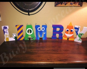 Monsters inc hand painted wooden letters/Monster Inc University/Childrens room decor/sulley & mike/Disney/Nursery/Kids room/Baby
