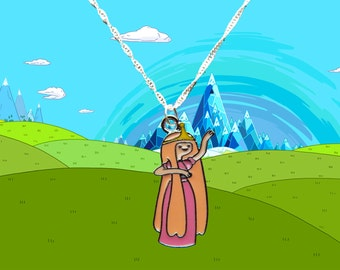 Adventure Time silver necklace with Princess Bubblegum charm  Free UK Postage!
