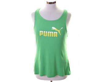 Puma Womens Vest Top Size 12 Medium Green Cotton