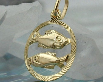 Zodiac pendant, fish, 9K GOLD
