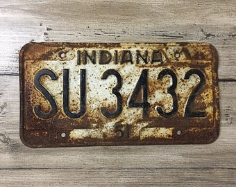 Vintage Indiana License Plate 1951 | White Black Brown Rusty | Man Cave Decor | Old Collectible | For Him | Garage