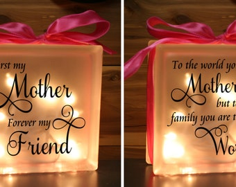 Mother's Day Lighted Glass Block