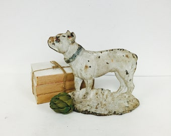 Rare Bull Dog Doorstop Attributed To Hubley ~ White Doorstop ~ Dog Decor ~  Farmhouse Style