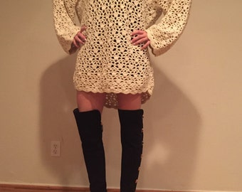 Cream Crochet  Sweater Dress