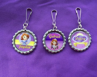 12 Personalized Sofia the First Zipper Pulls, Party Favors