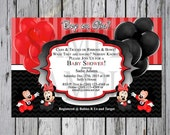 Gender Reveal Mickey and Minnie Mouse-Wish List included-Baby shower Disney-Disney Gender reveal-red and black baby shower-Minnie Mouse