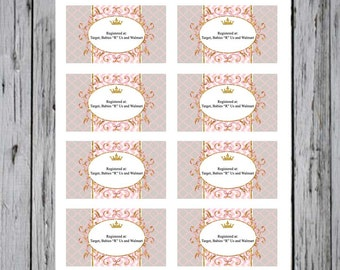 Baby shower Registry Cards-Pink and Chevron Registry Cards-Princess Gift Registry Cards-Gold and Pink Gift Registry Cards for Baby shower