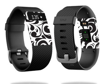 Skin Decal Wrap for Fitbit Blaze, Charge, Charge HR, Surge Watch cover sticker Swirly Black