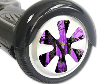 Skin Decal Wrap for Hoverboard Balance Board Scooter Wheels Purple Tree Camo