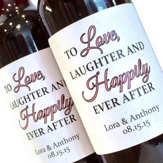 Wedding Wine Bottles: Bridal Shower Or Wedding Favor Mini Wine Labels Love Laughter