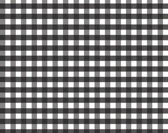 Black Fabric by the Yard - Fat Quarter Bundle - Quilt Fabric - Gingham Fabric - Black Gingham - Riley Blake Designs - Medium Gingham Black