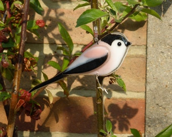 Fused glass long tailed tit - made to order