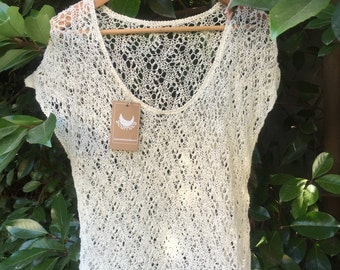 Linen Top, hand knitted. Made to order