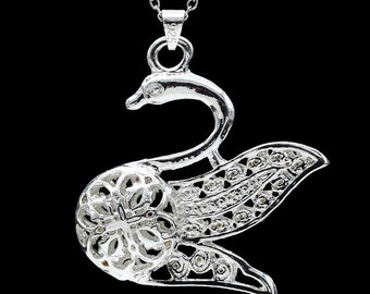 Sterling Silver Swan Necklace - Free Shipping