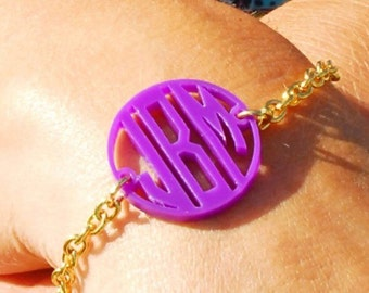 Monogram Acrylic Bracelet in Your Color Choices